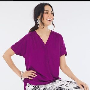 Chicos Side Cinch V-Neck Tee Size Large NWT